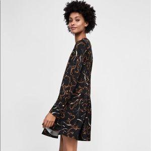 Zara Black & Chain Print Ruffled Dress